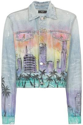 Amiri Hollywood-print boxy denim jacket