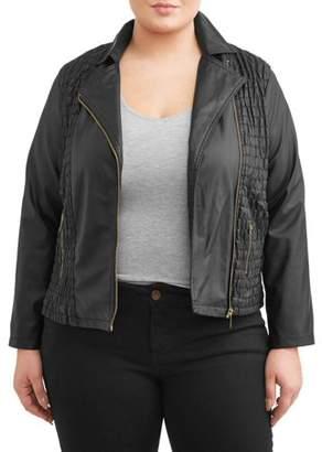 New Look Women's Plus Size Scrunched Contrast Zip Jacket