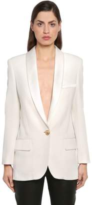 Balmain Oversize Single Breasted Crepe Blazer