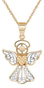 Lord & Taylor 14K Gold and Sterling Silver Angel Pendant Necklace