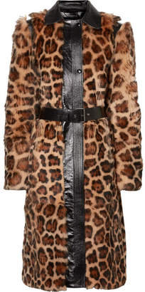 Givenchy Oversized Glossed Leather-trimmed Leopard-print Shearling Coat - Brown