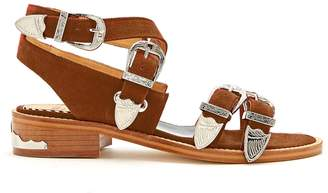 Toga Cross-strap buckle suede sandals