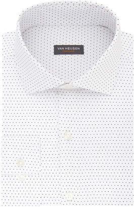 Van Heusen Traveler Long Sleeve Elastane Dots Dress Shirt - Slim