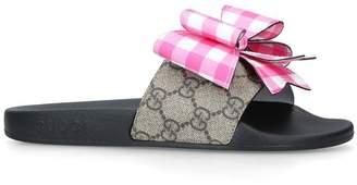 Gucci Gingham Bow Pursuit Slides