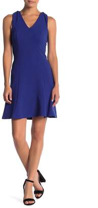 London Times Textured Fit N Flare Dress (Petite)