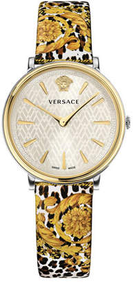 Versace 38mm V-Circle Tribute Leather Watch, Animal/Baroque