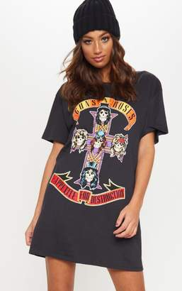 PrettyLittleThing Guns & Roses Slogan Burgundy T Shirt Dress