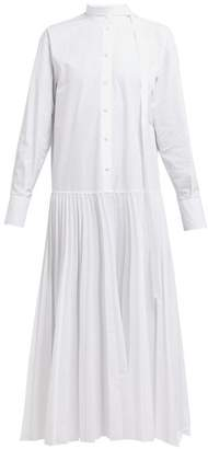 Valentino Pleated Cotton Poplin Shirtdress - Womens - White