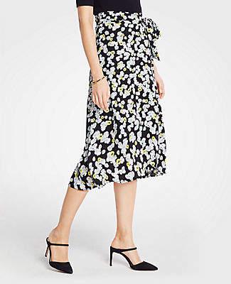 09d618198a Ann Taylor Petite Poppy Tie Waist Wrap Skirt