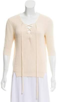 Veronica Beard Rib Knit Three-Quarter Sleeve Top