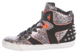 Ash Glitter High-Top Sneakers