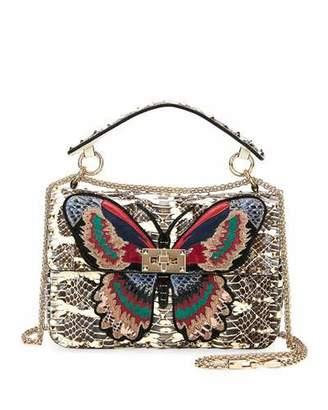Valentino Spike.It Medium Butterfly Snakeskin Shoulder Bag