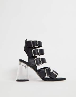 2869c2269749 clear Asos Design ASOS DESIGN Hunted leather strappy block heeled sandals