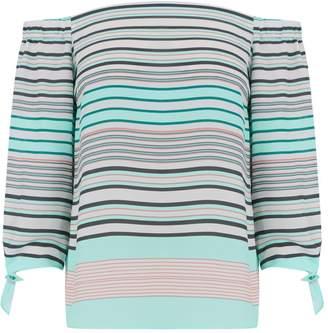 Miss Selfridge Tie sleeve multi stripe bardot top