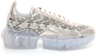 Jimmy Choo DIAMOND/F Natural Gloss Elaphe and Platinum Metallic Nappa Low Top Trainers