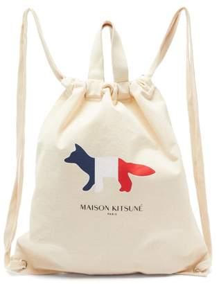 MAISON KITSUNÉ Fox Logo Print Cotton Canvas Tote Backpack - Mens - Beige