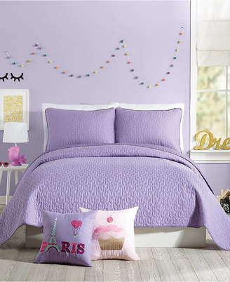 Nanette Lepore Urban Playground Coty Purple Full/Queen Quilt Set - 3 Piece Bedding