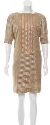 Akris Woven Knee-Length Dress Beige Woven Knee-Length Dress
