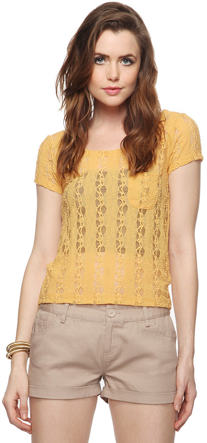 FOREVER 21 Textured Lace Top