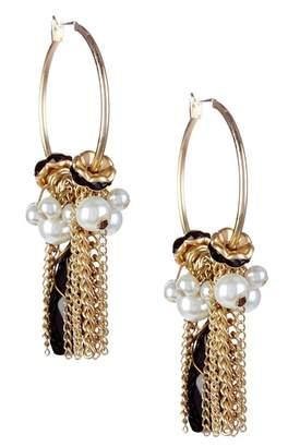 Leslie Danzis Black & Faux Pearl Charm Hoop Earrings