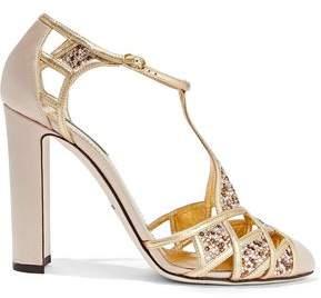Dolce & Gabbana Embellished Satin And Metallic Leather Pumps