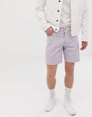 Asos Design DESIGN co-ord slim denim shorts in lillac pinstripe