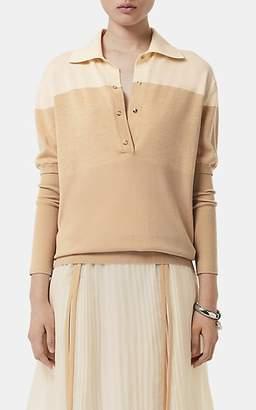 Burberry Women's Colorblocked Silk-Cotton Top - Beige, Tan