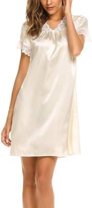 Goldenfox Women's Sleepwear Nightdress Satin Nightgown Sexy Lingerie