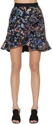 Self-Portrait Floral Embellished Mini Skirt W/ Ruffles