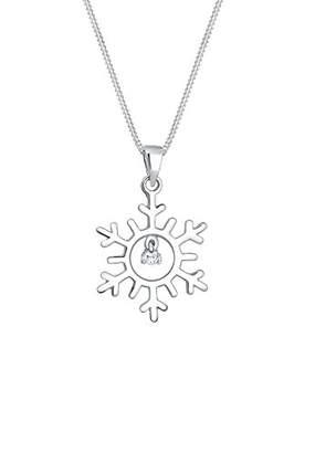 Elli Women Snowflake Winter Zirconia 925 Sterling Silver Necklace of Length 45cm