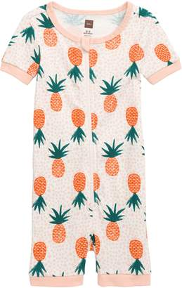 Tea Collection Pineapple Print Fitted One-Piece Short Pajamas