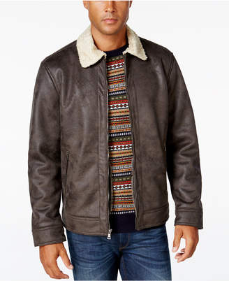 Nautica Men's Big & Tall Jacket with Faux Shearling Collar