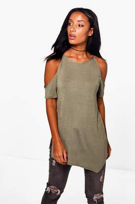 boohoo Cold Shoulder Side Split Top