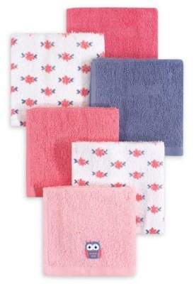 Hudson Baby 6-Pack Owl Woven Terry Washcloths in Pink