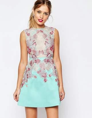 Asos DESIGN SALON Applique Lace Sheer Aline Mini Dress