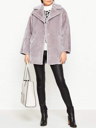 Whistles Faux Fur Cocoon Coat - Lilac