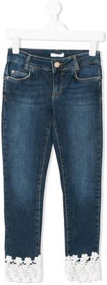 Liu Jo Kids lace-trimmed jeans