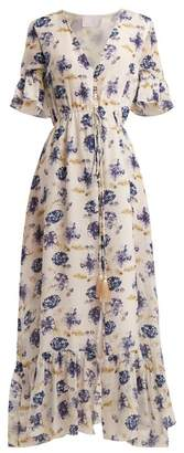 Athena Procopiou - V Neck Floral Print Dress - Womens - Blue Multi