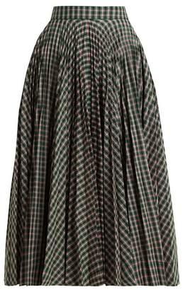 Calvin Klein Pleated Checked Jacquard Midi Skirt - Womens - Green Multi