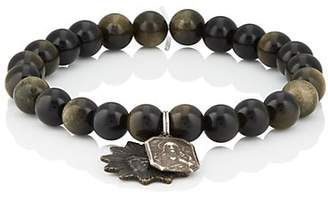 Miracle Icons Men's Vintage-Icon Beaded Bracelet - Black