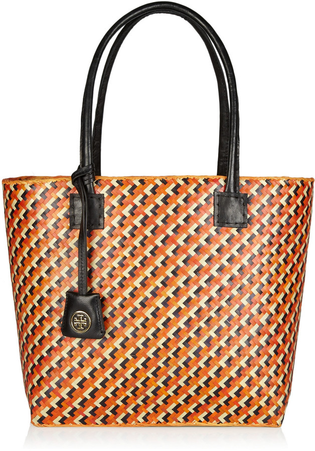 Tory Burch Woven straw and leather tote