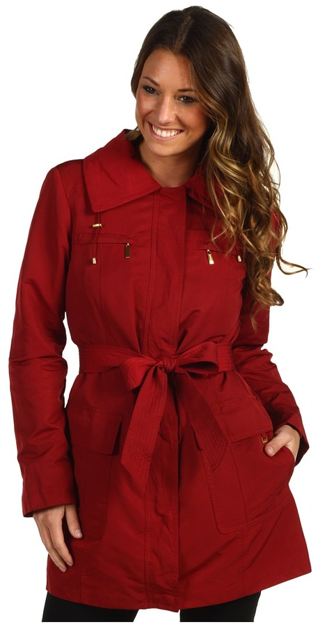 Ellen Tracy Belted Trench w/Stowed Hood (Ruby) - Apparel
