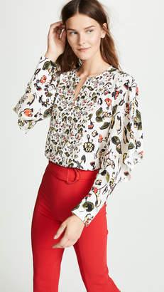 Jason Wu Grey Floral Ruffle Sleeve Top