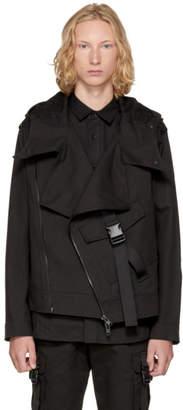D by D Black Big Pocket Strap Rider Jacket