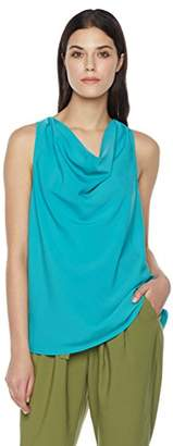 Suite Alice Women's Drape Neck Sleeveless Woven Top Turq
