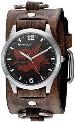 Nemesis 'Dragon Head' Quartz Stainless Steel and Leather Watch