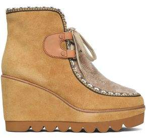 See by Chloe Shearling-Paneled Suede Wedge Ankle Boots