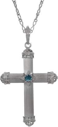 "Italian Silver 18"" Baroque Cross Pendant with Chain"
