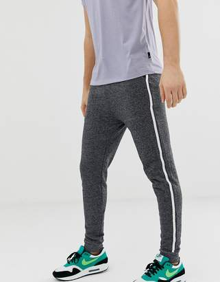 Asos Design Skinny Joggers In Charcoal With Side Stripe
