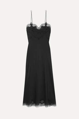 Carine Gilson Chantilly Lace-trimmed Silk-satin Nightdress - Black